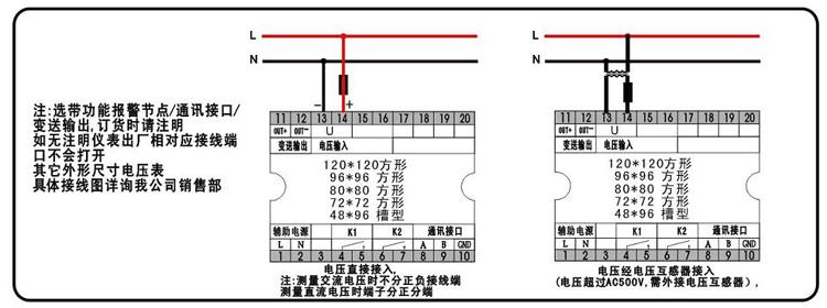 概述 智能电压表采用交流采样技术,能测量电网中的电压,可通过面板按键设置倍率,性价比极高。具有安装方便、接线简单、维护便利、工程量小、现场可编程设置输入参数等特点,并且能够完成与业界不同PLC,工控计算机的组网通信。 特点 测量:单相电压 显示:一排LED数码管显示 用途:适用于电力电网,自动化控制系统.
